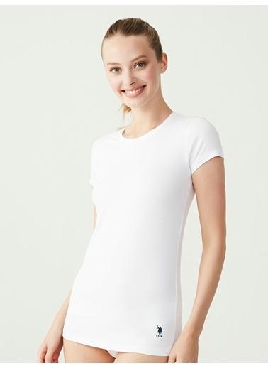 U.S. Polo Assn. Kısa Kollu Yuvarlak Yaka T-Shirt Beyaz